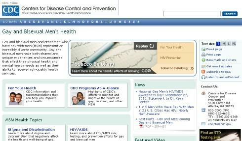 CDC: Gay and Bisexual Men's Health (Screenshot)